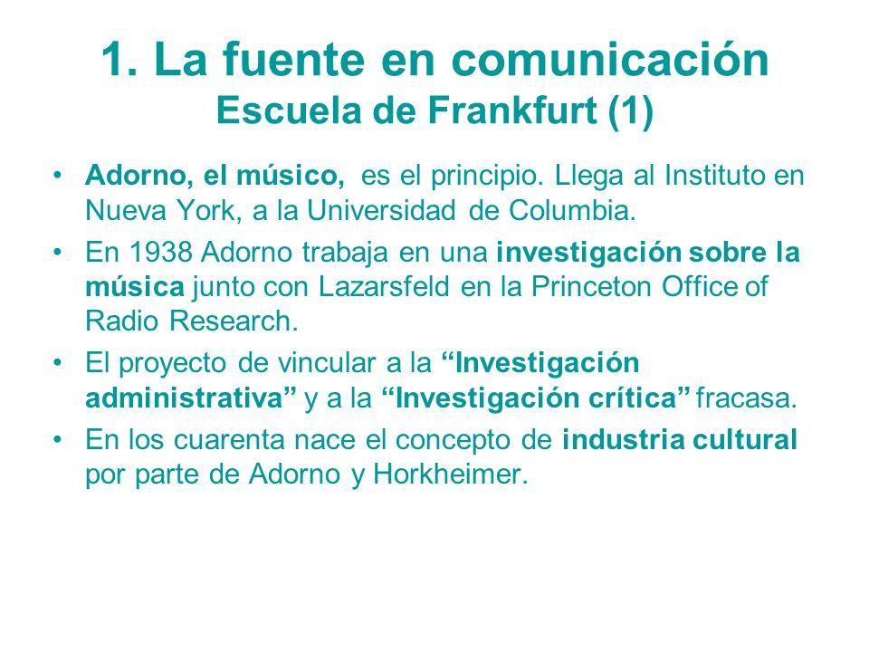 1. La fuente en comunicación Escuela de Frankfurt (1) Adorno, el músico, es el principio. Llega al Instituto en Nueva York, a la Universidad de Columb