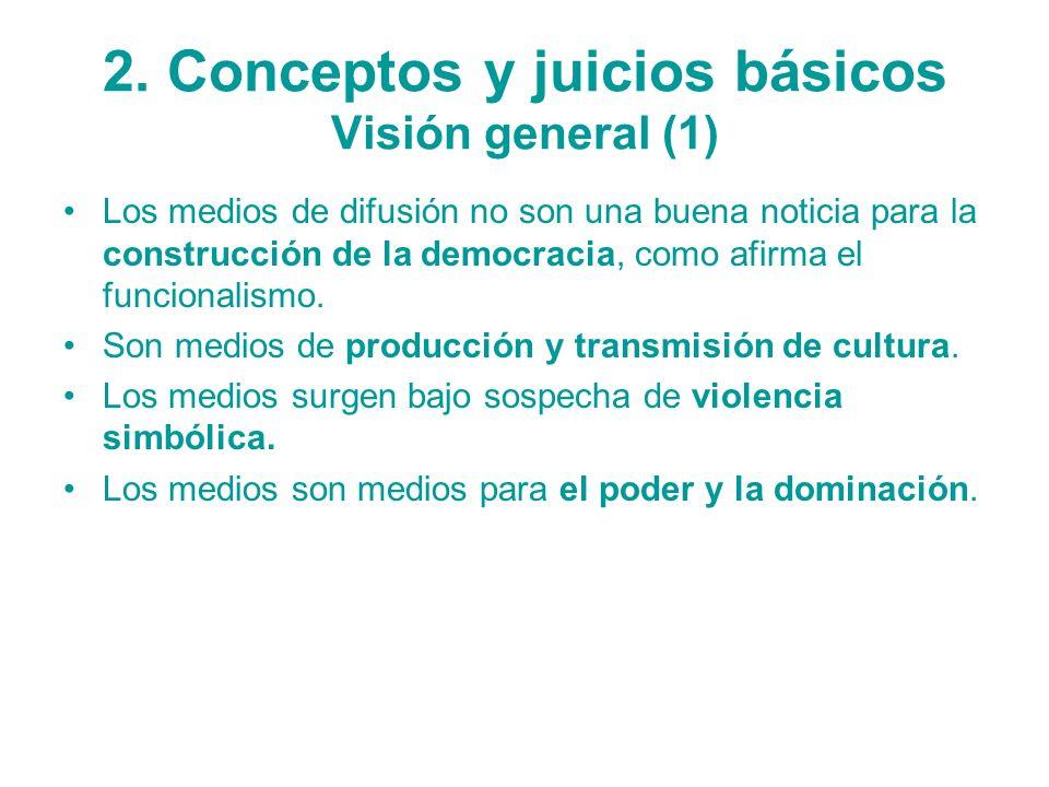 2. Conceptos y juicios básicos Visión general (1) Los medios de difusión no son una buena noticia para la construcción de la democracia, como afirma e