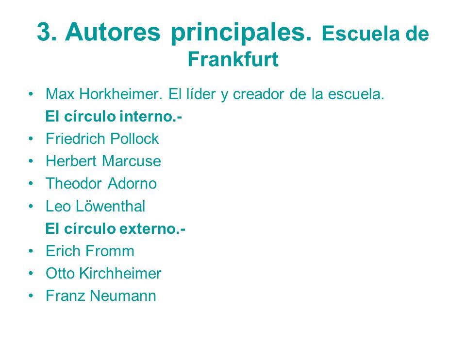 3. Autores principales. Escuela de Frankfurt Max Horkheimer. El líder y creador de la escuela. El círculo interno.- Friedrich Pollock Herbert Marcuse