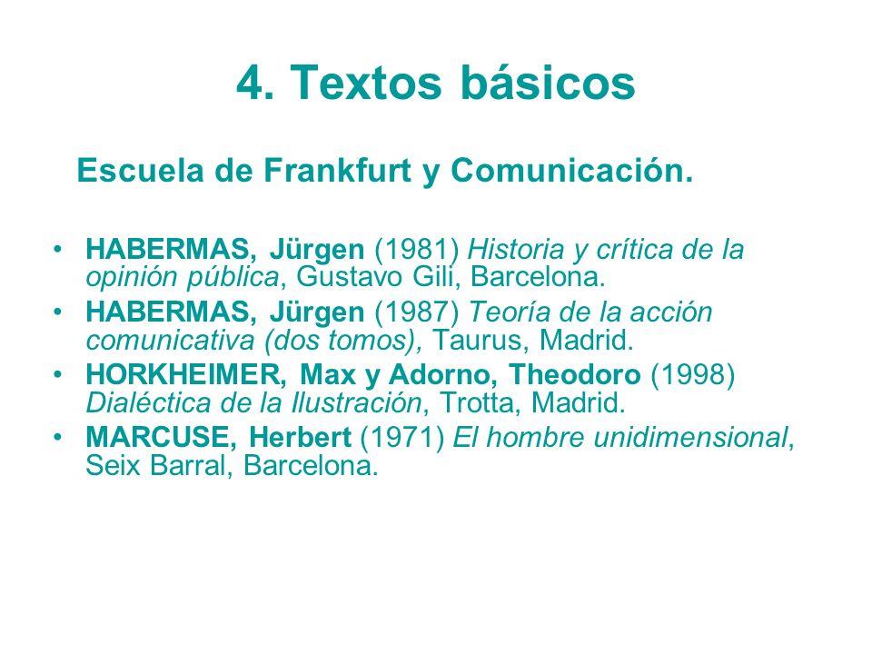 4. Textos básicos Escuela de Frankfurt y Comunicación. HABERMAS, Jürgen (1981) Historia y crítica de la opinión pública, Gustavo Gili, Barcelona. HABE