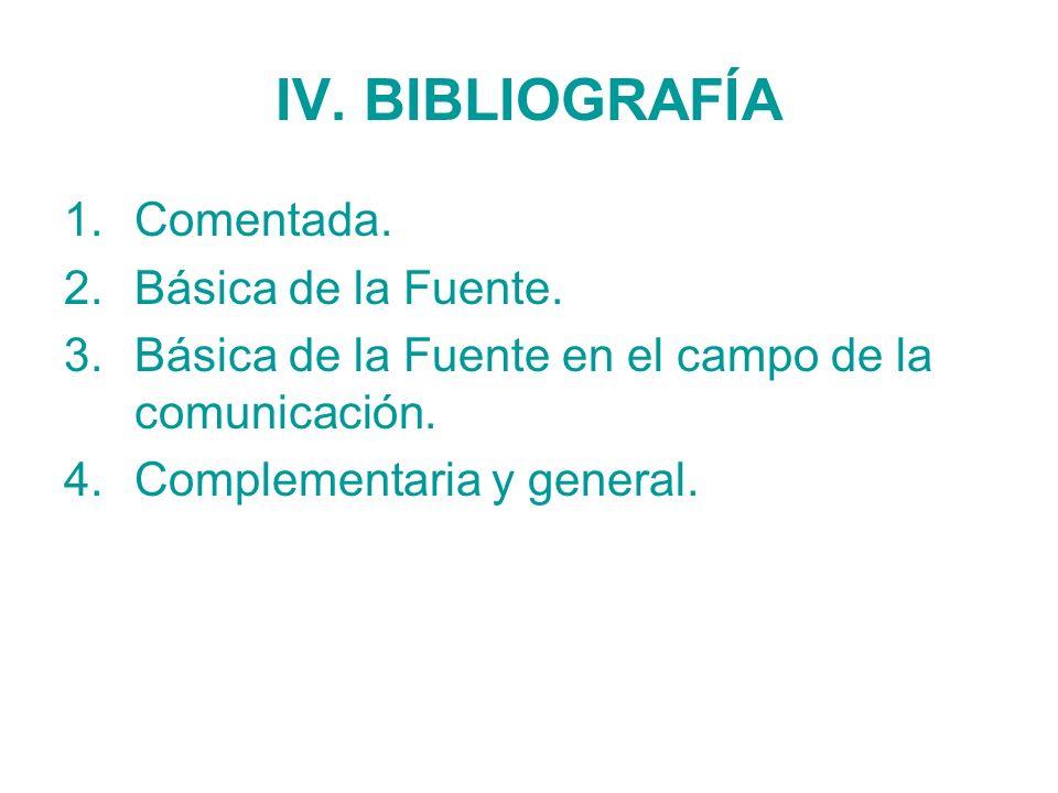 IV. BIBLIOGRAFÍA 1.Comentada. 2.Básica de la Fuente. 3.Básica de la Fuente en el campo de la comunicación. 4.Complementaria y general.