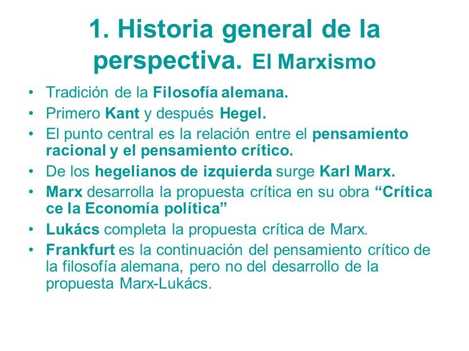 1. Historia general de la perspectiva. El Marxismo Tradición de la Filosofía alemana. Primero Kant y después Hegel. El punto central es la relación en
