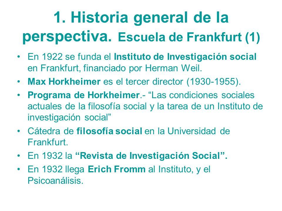 1. Historia general de la perspectiva. Escuela de Frankfurt (1) En 1922 se funda el Instituto de Investigación social en Frankfurt, financiado por Her