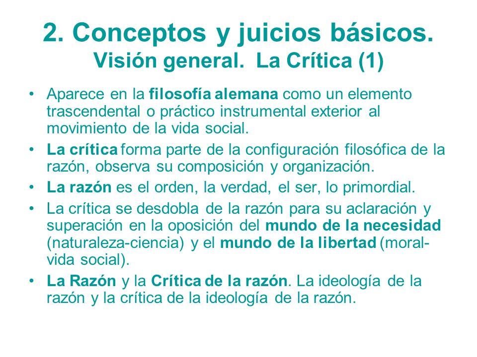 2. Conceptos y juicios básicos. Visión general. La Crítica (1) Aparece en la filosofía alemana como un elemento trascendental o práctico instrumental