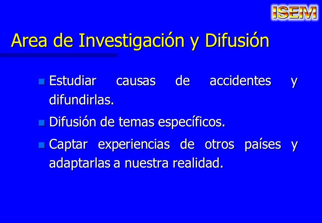 Area de Investigación y Difusión n Estudiar causas de accidentes y difundirlas. n Difusión de temas específicos. n Captar experiencias de otros países