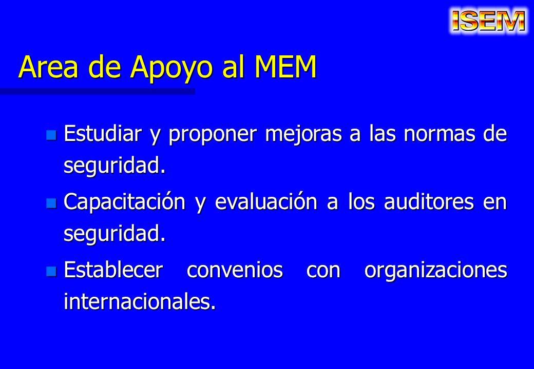 Area de Apoyo al MEM n Estudiar y proponer mejoras a las normas de seguridad. n Capacitación y evaluación a los auditores en seguridad. n Establecer c