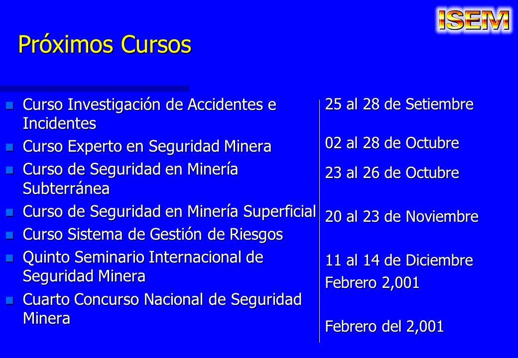 Próximos Cursos n Curso Investigación de Accidentes e Incidentes n Curso Experto en Seguridad Minera n Curso de Seguridad en Minería Subterránea n Cur