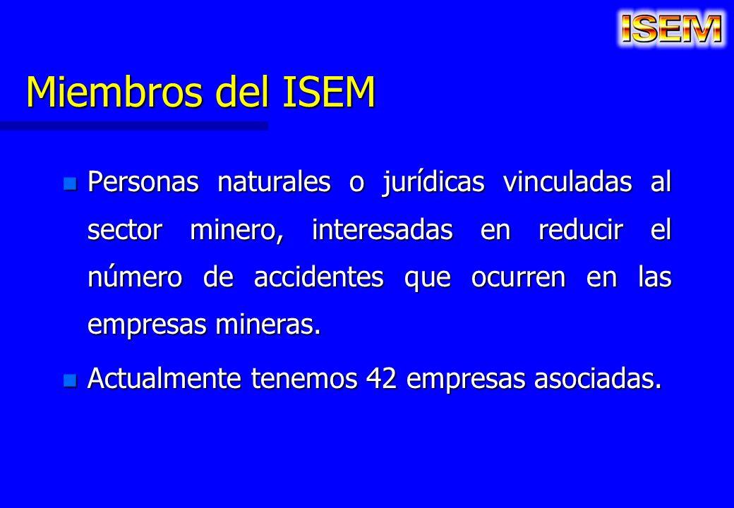Miembros del ISEM n Personas naturales o jurídicas vinculadas al sector minero, interesadas en reducir el número de accidentes que ocurren en las empr