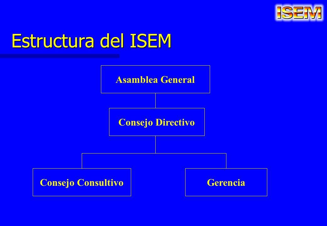 Estructura del ISEM Asamblea General Consejo Directivo Consejo ConsultivoGerencia