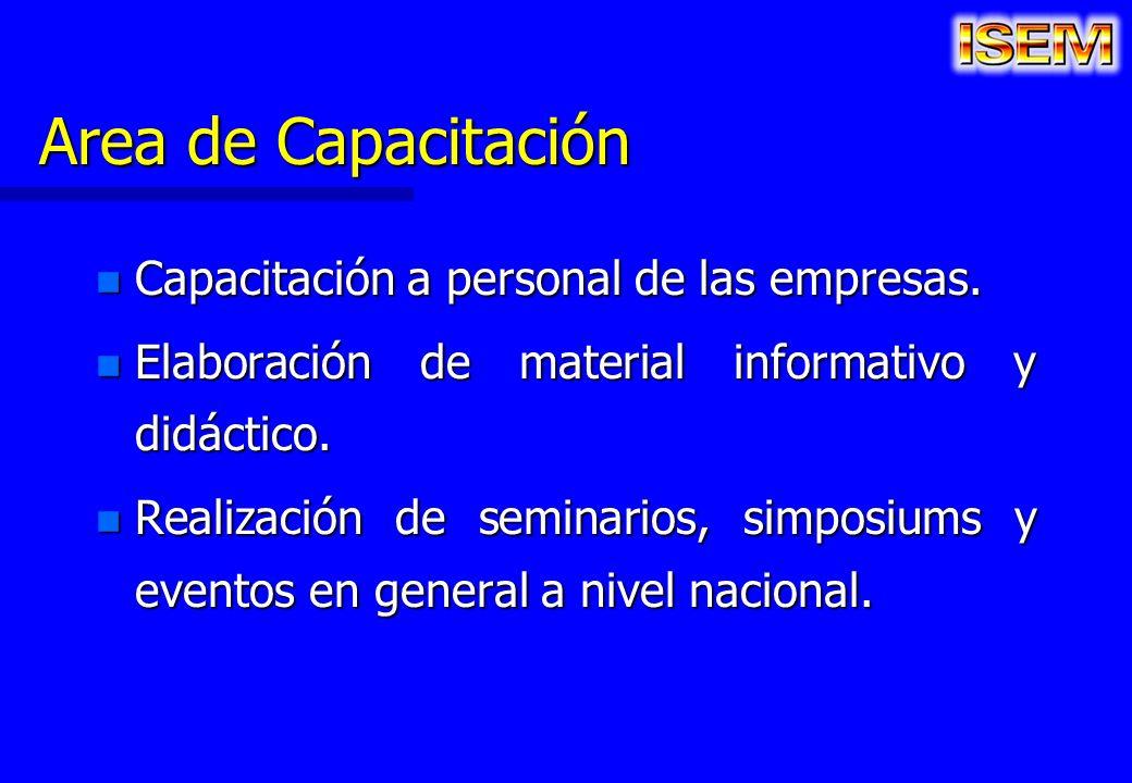 Area de Capacitación n Capacitación a personal de las empresas. n Elaboración de material informativo y didáctico. n Realización de seminarios, simpos