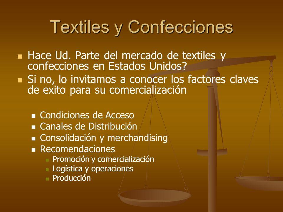 Textiles y Confecciones RECOMENDACIONES Producción Si quiere lograr un programa de Confecciones en Estados Unidos y mantenerlo su fábrica debe cumplir con ciertos requisitos como: Control de agujas por línea de producción.