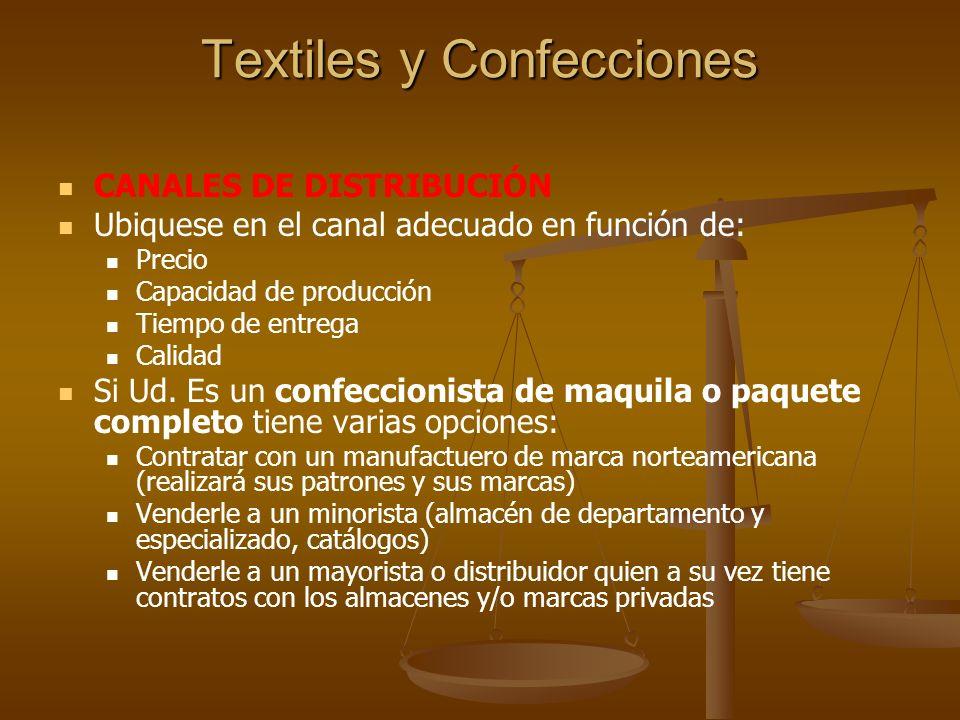 Textiles y Confecciones RECOMENDACIONES OPORTUNIDAD Y RETO Estados Unidos está demandando paquete completo en tejido plano.
