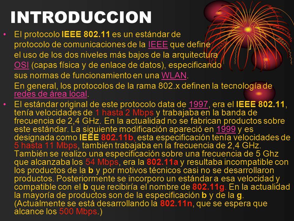 El protocolo IEEE 802.11 es un estándar de protocolo de comunicaciones de la IEEE que defineIEEE el uso de los dos niveles más bajos de la arquitectur