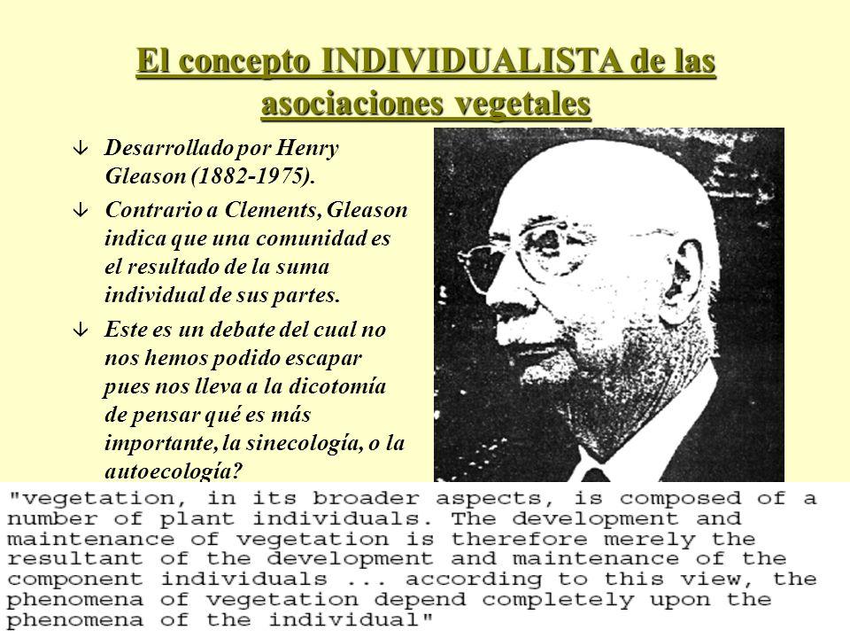 El concepto INDIVIDUALISTA de las asociaciones vegetales â Desarrollado por Henry Gleason (1882-1975). â Contrario a Clements, Gleason indica que una