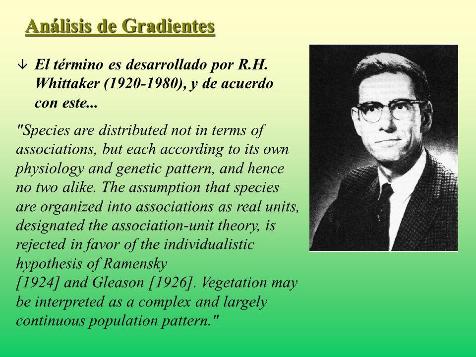 Análisis de Gradientes â El término es desarrollado por R.H. Whittaker (1920-1980), y de acuerdo con este...