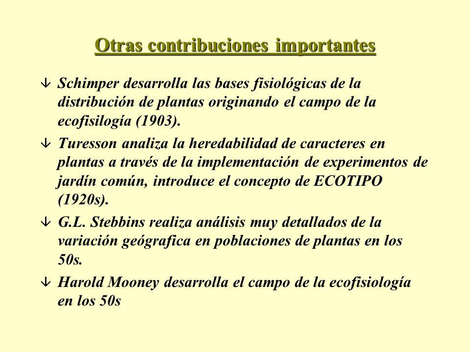 Otras contribuciones importantes â Schimper desarrolla las bases fisiológicas de la distribución de plantas originando el campo de la ecofisilogía (19