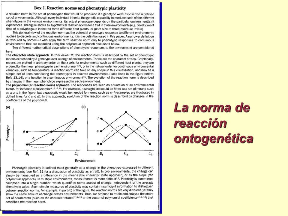 La norma de reacción ontogenética