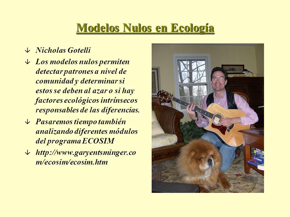 Modelos Nulos en Ecología â Nicholas Gotelli â Los modelos nulos permiten detectar patrones a nivel de comunidad y determinar si estos se deben al aza
