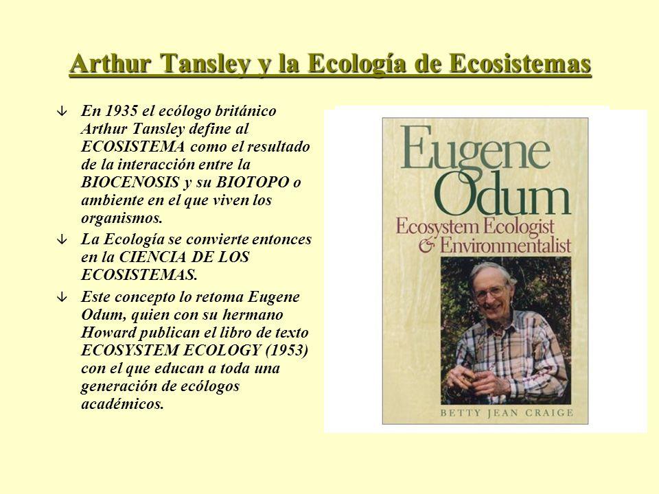 Arthur Tansley y la Ecología de Ecosistemas â En 1935 el ecólogo británico Arthur Tansley define al ECOSISTEMA como el resultado de la interacción ent