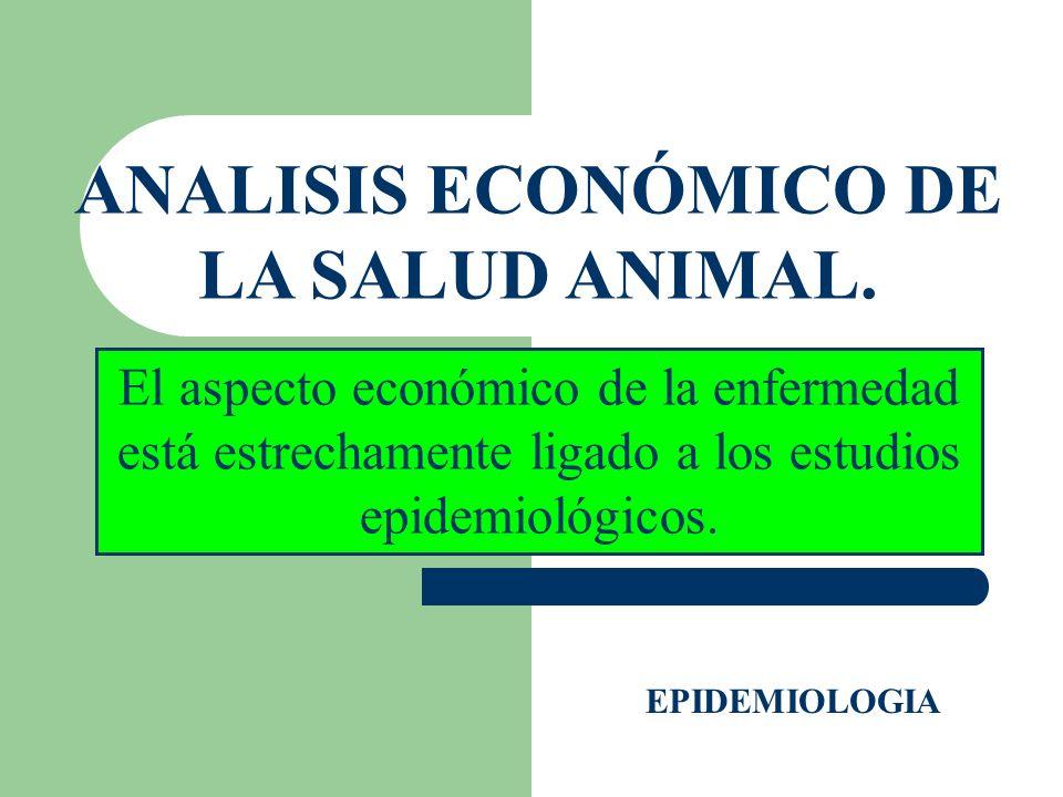 ANALISIS ECONÓMICO DE LA SALUD ANIMAL. EPIDEMIOLOGIA El aspecto económico de la enfermedad está estrechamente ligado a los estudios epidemiológicos.