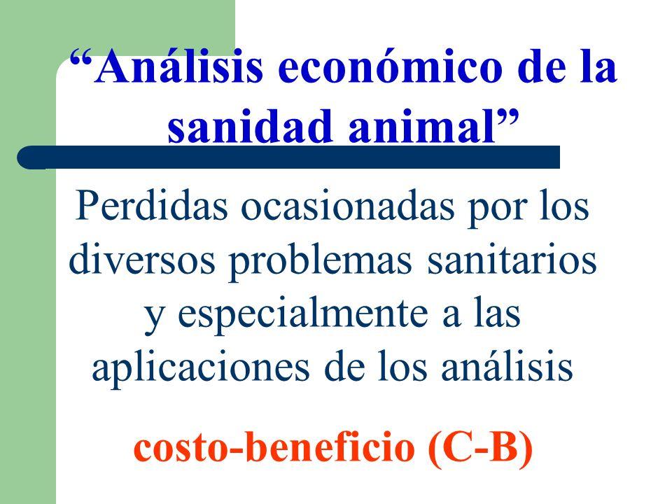 Análisis económico de la sanidad animal Perdidas ocasionadas por los diversos problemas sanitarios y especialmente a las aplicaciones de los análisis