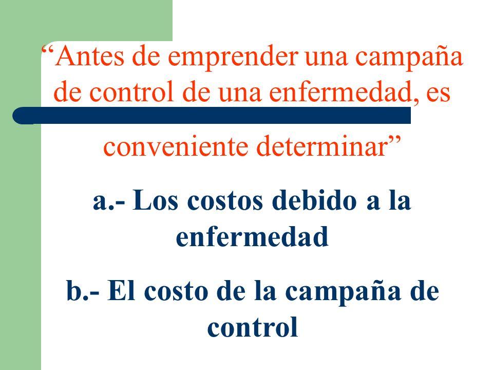 Antes de emprender una campaña de control de una enfermedad, es conveniente determinar a.- Los costos debido a la enfermedad b.- El costo de la campañ