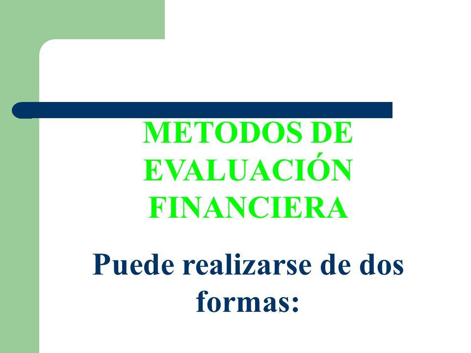 METODOS DE EVALUACIÓN FINANCIERA Puede realizarse de dos formas: