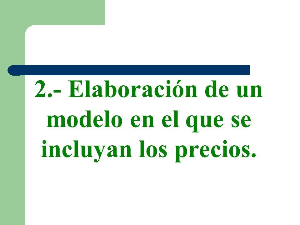 2.- Elaboración de un modelo en el que se incluyan los precios.