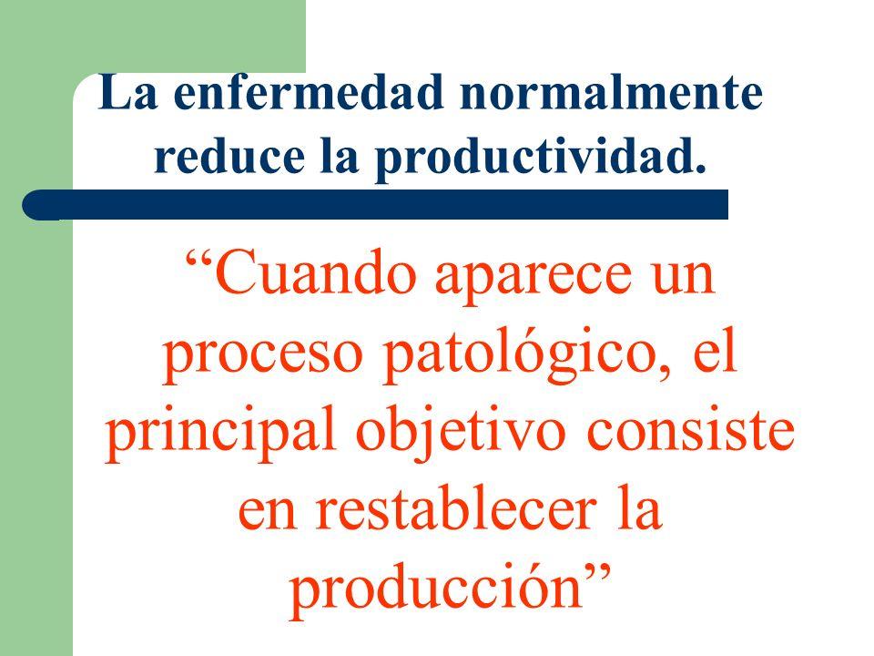 La enfermedad normalmente reduce la productividad. Cuando aparece un proceso patológico, el principal objetivo consiste en restablecer la producción
