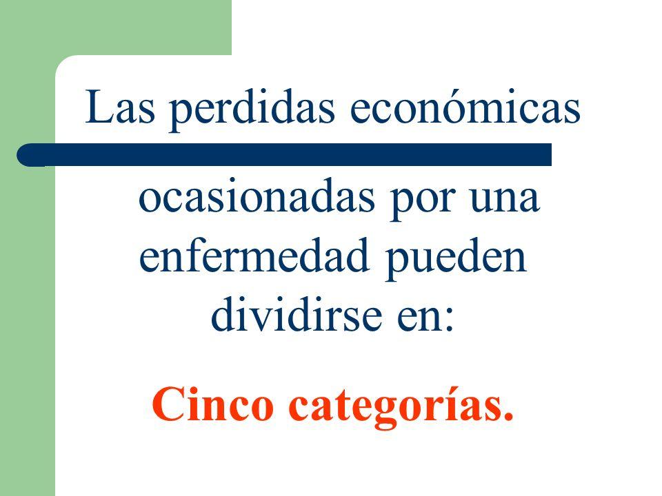 Las perdidas económicas ocasionadas por una enfermedad pueden dividirse en: Cinco categorías.