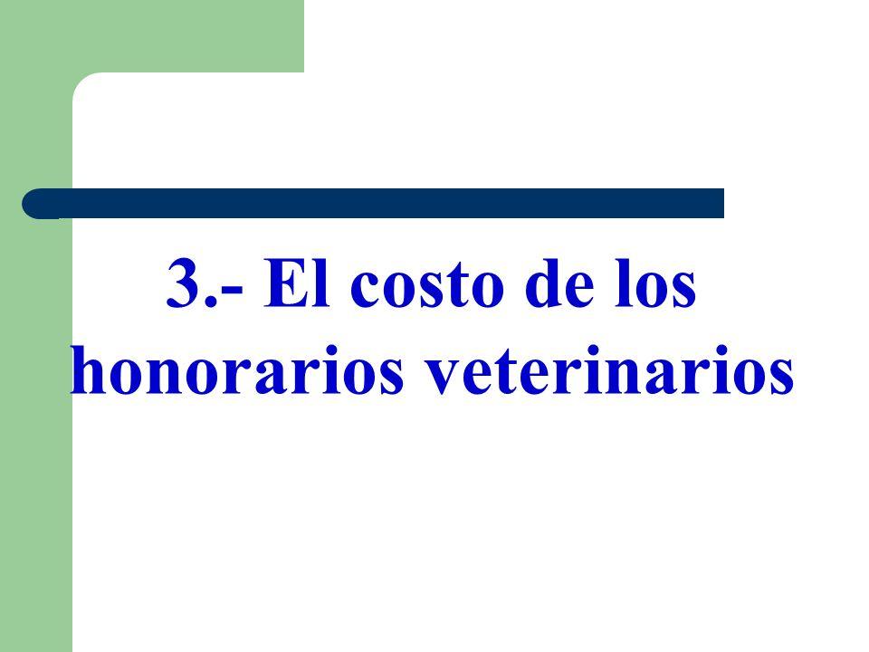 3.- El costo de los honorarios veterinarios