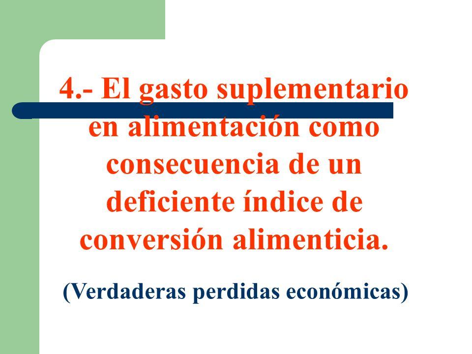 4.- El gasto suplementario en alimentación como consecuencia de un deficiente índice de conversión alimenticia. (Verdaderas perdidas económicas)