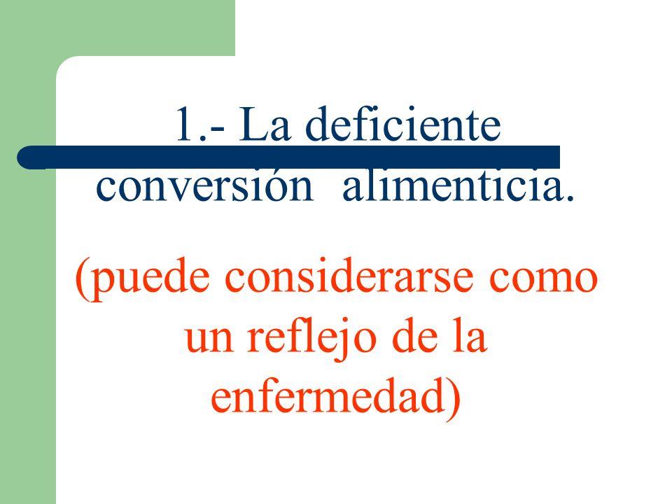 1.- La deficiente conversión alimenticia. (puede considerarse como un reflejo de la enfermedad)