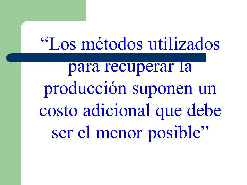 Los métodos utilizados para recuperar la producción suponen un costo adicional que debe ser el menor posible