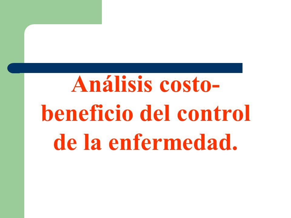 Análisis costo- beneficio del control de la enfermedad.