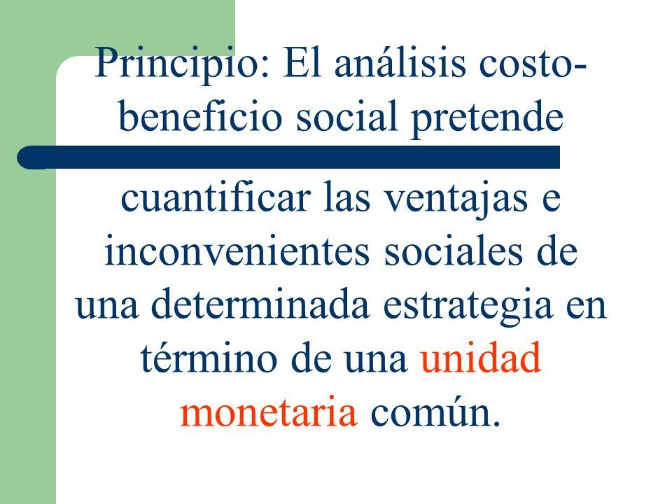 Principio: El análisis costo- beneficio social pretende cuantificar las ventajas e inconvenientes sociales de una determinada estrategia en término de