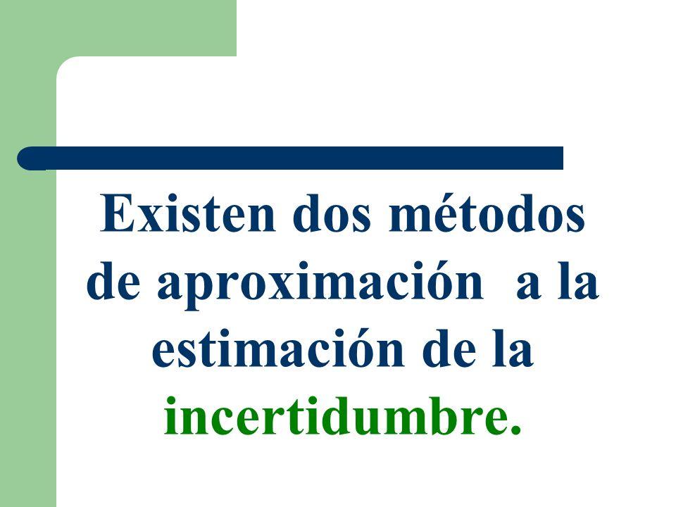 Existen dos métodos de aproximación a la estimación de la incertidumbre.