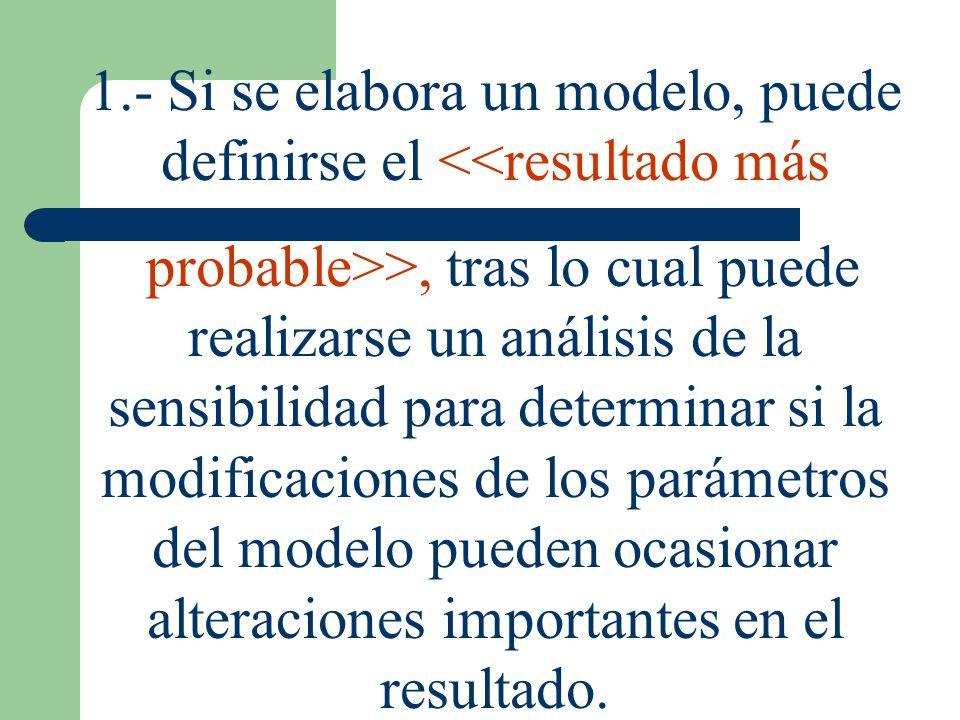 1.- Si se elabora un modelo, puede definirse el <<resultado más probable>>, tras lo cual puede realizarse un análisis de la sensibilidad para determin