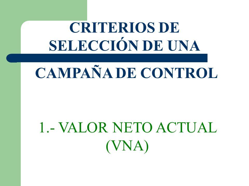 CRITERIOS DE SELECCIÓN DE UNA CAMPAÑA DE CONTROL 1.- VALOR NETO ACTUAL (VNA)