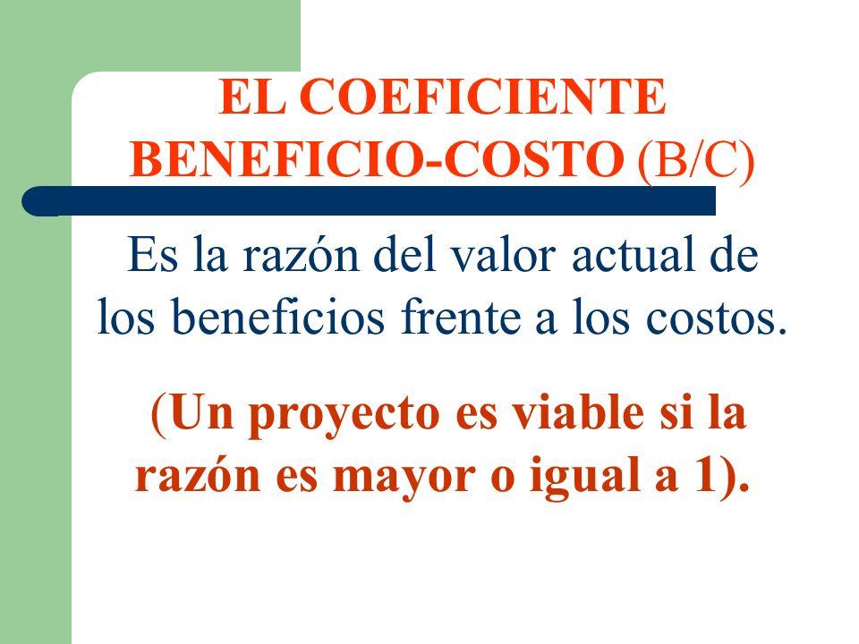 EL COEFICIENTE BENEFICIO-COSTO (B/C) Es la razón del valor actual de los beneficios frente a los costos. (Un proyecto es viable si la razón es mayor o