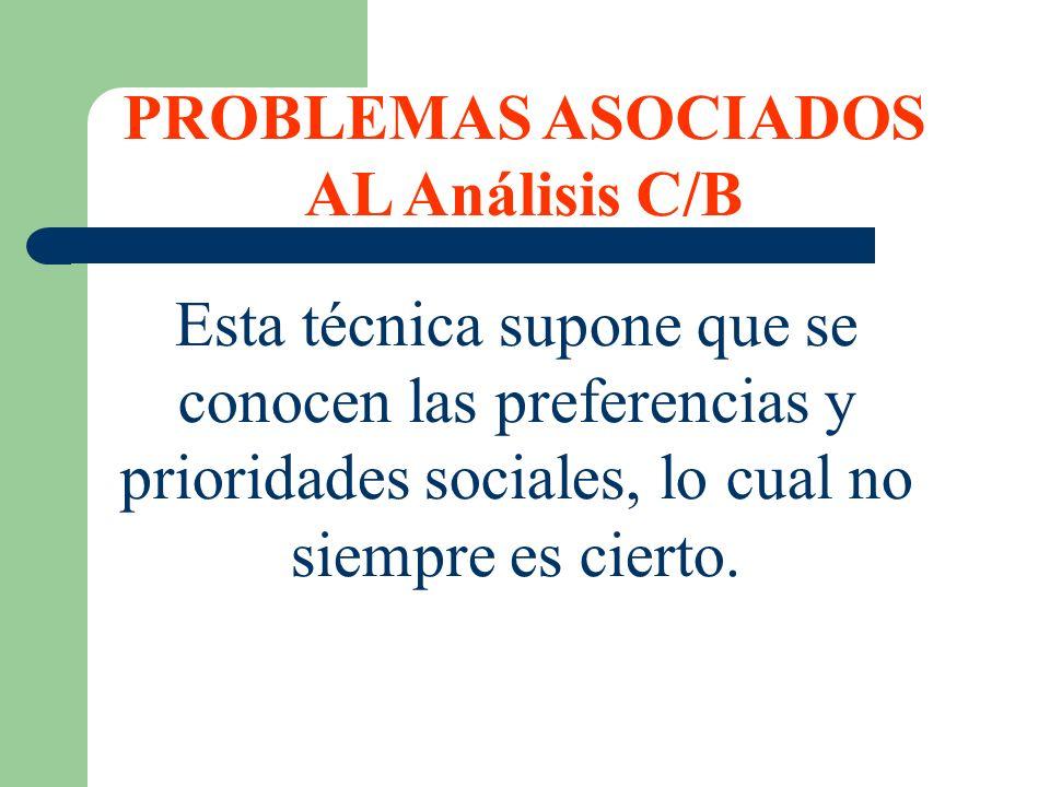 PROBLEMAS ASOCIADOS AL Análisis C/B Esta técnica supone que se conocen las preferencias y prioridades sociales, lo cual no siempre es cierto.