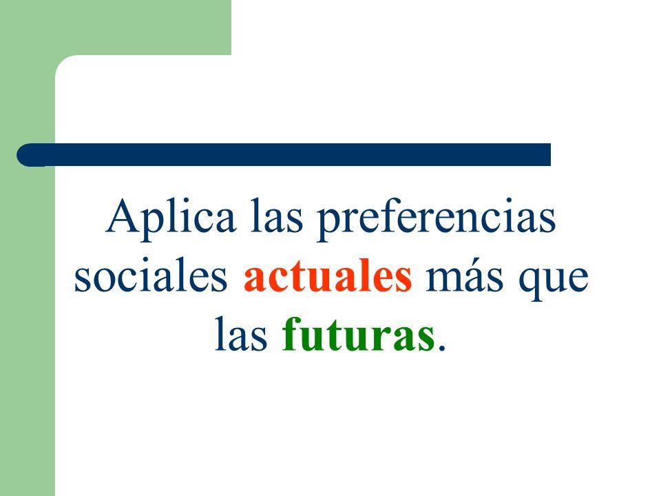 Aplica las preferencias sociales actuales más que las futuras.