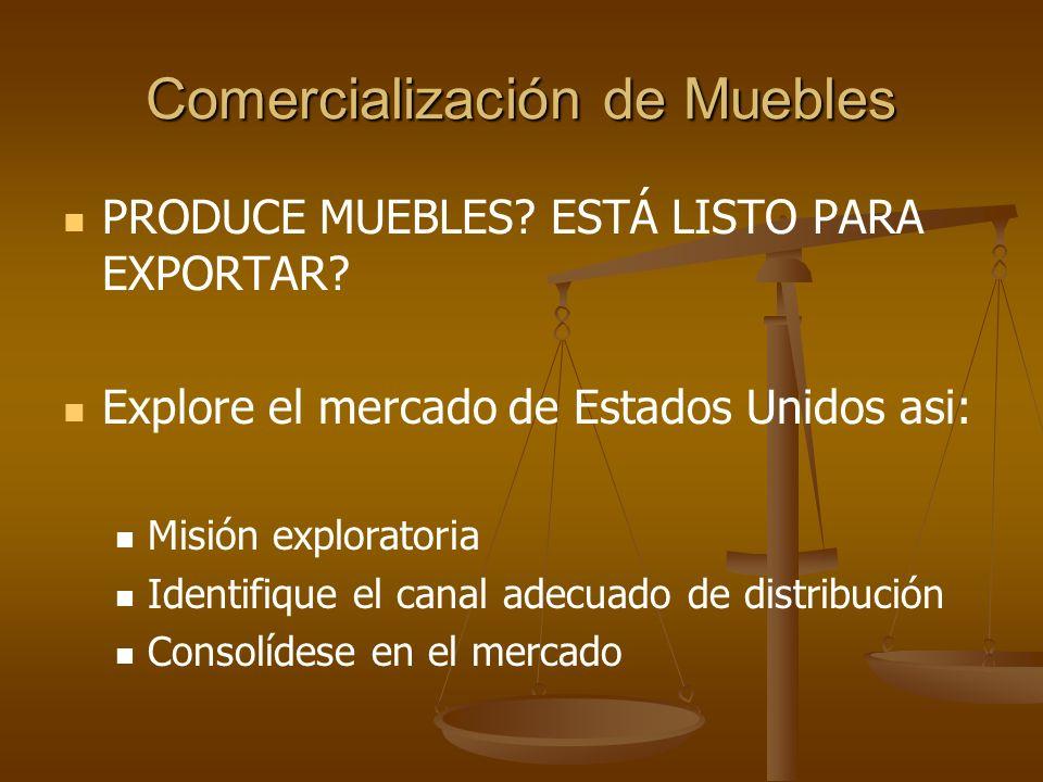Comercialización de Muebles MISIÓN EXPLORATORIA Visita a cadenas y almacenes de muebles Análisis Costos vrs.