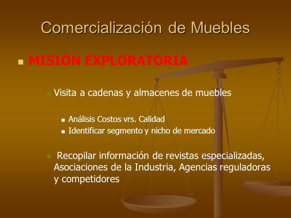 Comercialización de Muebles IDENTIFICACIÓN DEL CANAL DE DISTRIBUCIÓN ADECUADO PARA SU PRODUCTO Perfil del Comprador vrs.