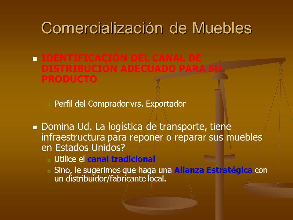 Comercialización de Muebles RECOMENDACIONES Y VENTAJAS DE LAS ALIANZAS: Que los productos que se ofrezcan sean complementarios con los del socio.