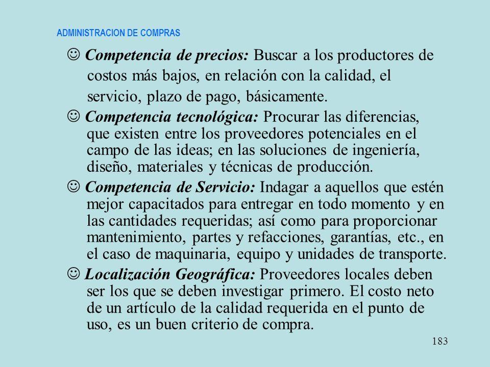 ADMINISTRACION DE COMPRAS Competencia de precios: Buscar a los productores de costos más bajos, en relación con la calidad, el servicio, plazo de pago