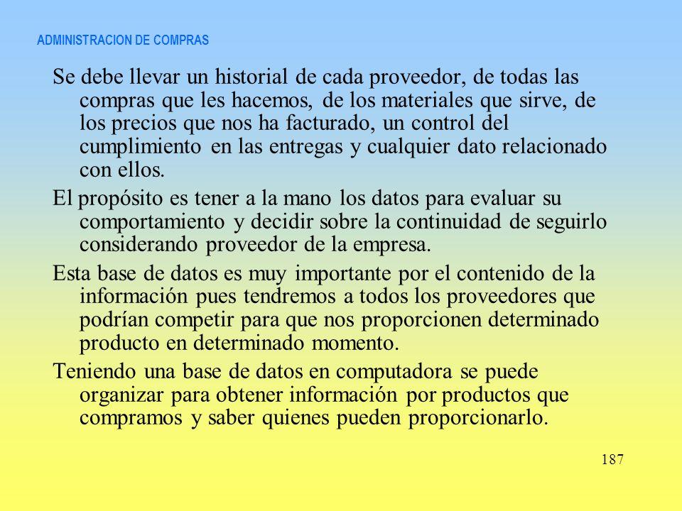 ADMINISTRACION DE COMPRAS Se debe llevar un historial de cada proveedor, de todas las compras que les hacemos, de los materiales que sirve, de los pre