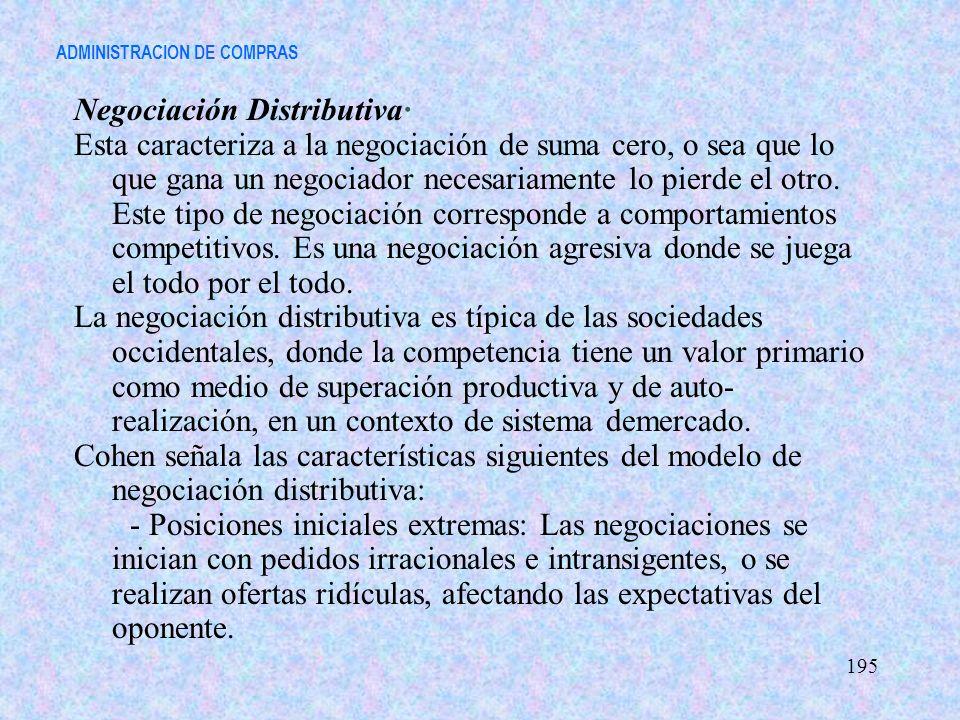 ADMINISTRACION DE COMPRAS Negociación Distributiva· Esta caracteriza a la negociación de suma cero, o sea que lo que gana un negociador necesariamente