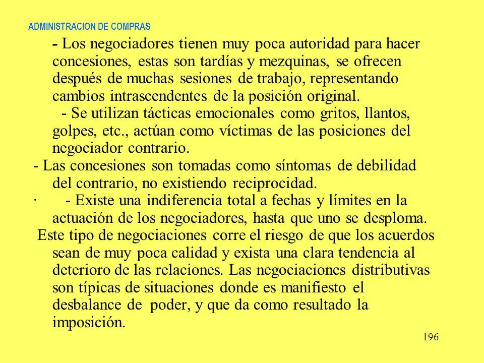ADMINISTRACION DE COMPRAS - Los negociadores tienen muy poca autoridad para hacer concesiones, estas son tardías y mezquinas, se ofrecen después de mu