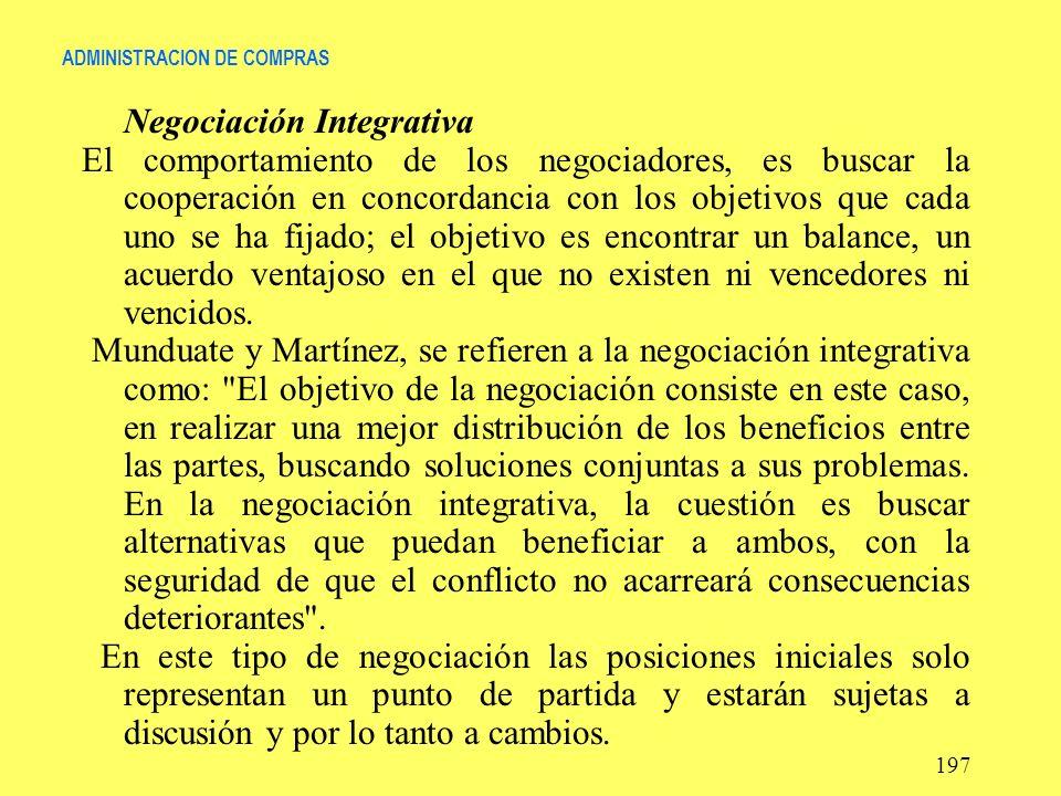 ADMINISTRACION DE COMPRAS Negociación Integrativa El comportamiento de los negociadores, es buscar la cooperación en concordancia con los objetivos qu